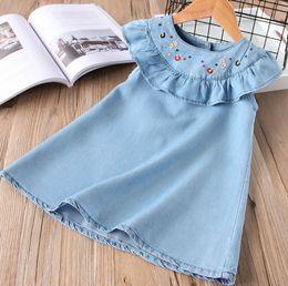 Wholesale Wholesale Denim Floral Shirt - Children jeans dress shirts girls floral embroidery A-line dress kids falbala fly sleeve denim dress girls cowboy princess tops Y0065