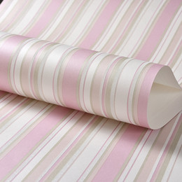Wholesale Vertical Striped Wallpaper - Children Room Non-woven Blue Vertical Striped Wallpaper Modern 3D Pink Stripes Girl Bedroom Wall Decoration Wallpapers For Wall
