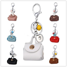 Wholesale bell chains - Noosa Ginger 18mm Snap Button Keychains Lobster Clasp Snap Keychain Mini Leather Bag Jingle Bells Charms Car Key chain Key Rings