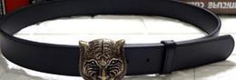 Wholesale Heavy Metal Belts - Mens Belts Luxury 3D Tiger Head heavy metal Belt Buckle Genuine Leather Men Belt western Cowboy punk rock style Jeans Ceinture Cinturones