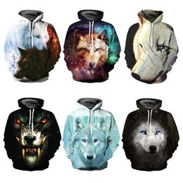 Wholesale Cool Color Paintings - Cool Long Sleeve Creative Two Wolfs Pattern 3D Painted Hoodie