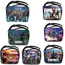 Wholesale art canvas bags - 7 colors Fortnite Cosplay Messenger Bag teenager Backpacks Cartoon print bags Kids Gift 28*35cm Shoulder Bags MMA336
