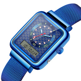 Синий цвет стали стали смотреть онлайн-Senors Watch Men Dual Display Watch Men Sport  Male Stainless Steel Band Color Blue Silver Sn146