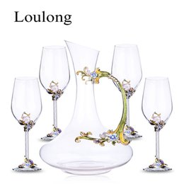 Wholesale Crystal Decanters - Top Technology China Enamel Red Wine Glass Wine Suit 1 Decanter 4 Goblet Home Furnishing Kits Crystal Glass Red Cup