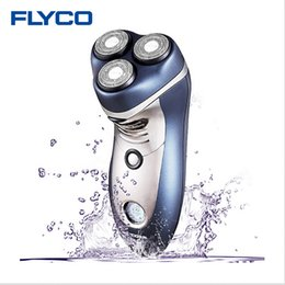 2019 máquina de barbear Flyco 3D Cabeça de Corte Inteligente Shaver Elétrico Barbeador Lavável do corpo 110-240 v 4 W Barbear Lâminas de Lâmina Triplo para Homens FS359 máquina de barbear barato