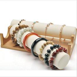 Wholesale White Leather Ring Display - Lanolin 24cm*14cm*8.5cm Bracelet Chain Watch bracelet Rack Jewelry Hard Display Stand Holder Removable bracelet frame white