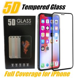 Film iphone6 en Ligne-For Iphone X 5D Tempered Glass Curved Screen Protector for iPhone6 6S 7 8 Plus Edge to Edge Protection Full Coverage Screen Film