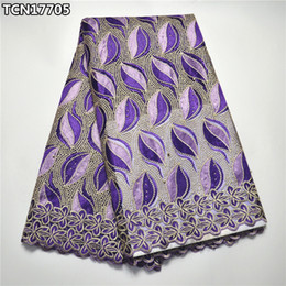 Wholesale top quality african fabrics - High quality purple african lace fabric for woman wedding dress sewing top sale pretty design french net lace fabric TCN17705