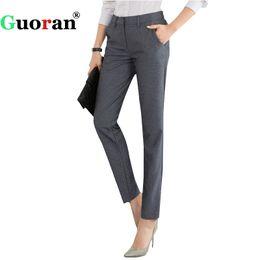 серые формальные брюки Скидка {Guoran} High Quality Women Formal Office Work Pants Black Grey Business Suit Trousers Plus Size 4xl Ladies OL Pencil Pants