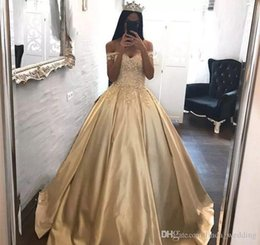 04b88a644 2018 Gold Quinceanera Dress Princess Arabic Dubai Styles Off Shoulder Sweet  16 Ages Long Girls Prom Party Pageant Gown Plus Size Custom Made