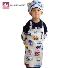 4 pezzi / set grembiuli di cartone animato coreano senza maniche disegno di prestazioni abbigliamento bambini grembiule giocattolo piccolo modello auto colorato grembiule di cucina da