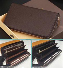 Preço vintage on-line-Moda Designer de Embreagem Couro Genuíno Zippy Carteira com caixa de pó saco de 60015 60017 bom preço
