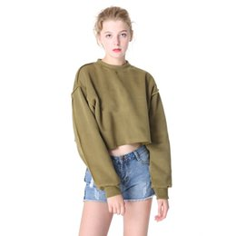 e9ef6260cc1b8 Autumn Women Solid Preppy Style Crop Sweatshirts O Neck Plain Slim Casual  Hoodies Loose Student Sweats Clothing