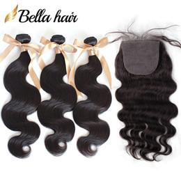 chiudere la base di seta dei fasci di tessitura dei capelli Sconti Bella base di seta Silk Hair® con 3 pacchi di colore naturale onda del corpo 8A brasiliana vergine capelli umani tessuto base di seta chiusura completa testa