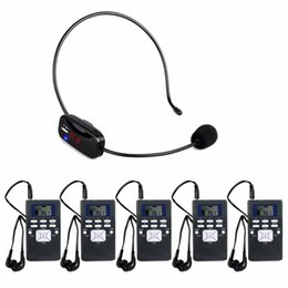 Беспроводная система приемника передатчика онлайн-Portable Wireless Tour Guide System Voice Transmission System For  Meeting Training (1 FM Transmitter + 5 Receiver) Y4430A