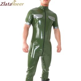entrepierna Rebajas Catsuit uniforme de látex para hombre con cremallera frontal debajo de entrepierna Leotardo de goma sexy Body de látex LCM109