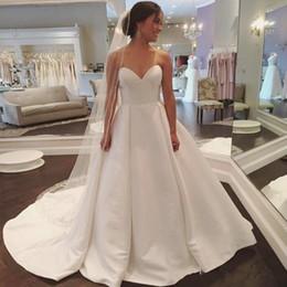Wholesale empire sweetheart ruffle wedding dress - Simple Satin Cheap Wedding Dresses 2018 Sweetheart Ruffle A Line Beach Wedding Dress Bridal Gowns Custom Made Plus Size