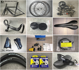 Wholesale Carbon Fibre Bike Wheels - 2018 Newest CARROWTER Complete carbon road bike full Bicycle with carbon road frames 5800 R8000 Groupset 50mm carbon wheels free shipping