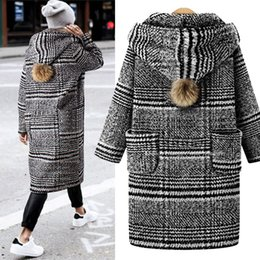 73658a01c90cf Tallas grandes para mujer Escudo largo Abrigo de manga larga Abrigo de lana  Loose Outwear Botón Mujer Otoño Invierno Abrigos abrigos largos de lana  baratos