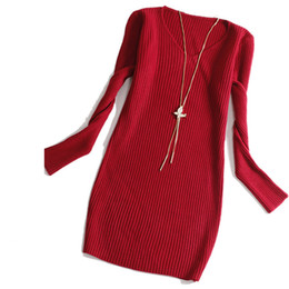 Wholesale Fine Knitting - Spring Autumn Fashion Women Long Sleeve Knit Dress yellow red Solid color Fine cotton fiber Slim Elastic Cute Lady Knitwear Pleated Knitted