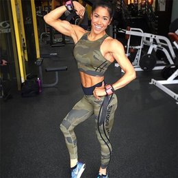 Wholesale Sexy Women Military - 2018 womens Tracksuit Camouflage Sexy Sleeveless Sweatsuits For Women fitness print letter Set Cropped Survetement femme military