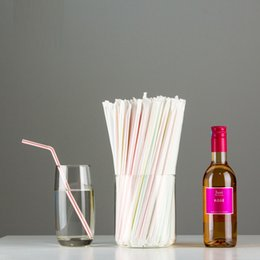 Wholesale Bend Homes - 10000 Pcs Disposable Plastic Straws Individually wrapped bending juice Drinking Straw Birthday Wedding home Party Bar kid supply