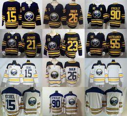 Navy jack online-# 26 Rasmus Dahlin 23 Sam Reinhart Buffalo Sabres # 15 Jack Eichel # 90 Ryan O'Reilly Camisetas de hockey Azul marino Blanco Todo Envío Gratis