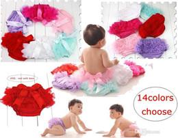 Wholesale toddler ruffle underwear - Lovely Baby Ruffles Chiffon Bloomer Tutu Infant Toddler Cotton Silk Bow Skirt Shorts Kids Layers Skirt Diaper Cover Underwear PP Shorts
