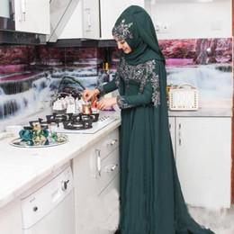vestidos formales de ropa musulmana Rebajas 2017 islámico Hijab vestidos formales musulmanes ropa de noche 2K17 manga larga Hunter verde gasa apliques de encaje árabe fiesta de baile Vestidos