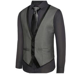 Männer kontrastfarben anzug online-Neue Ankunft Herren Anzug Weste V-Ausschnitt Kontrast Farbe Slim Fit Kleid Westen Männer Rücken Riemchen Weste