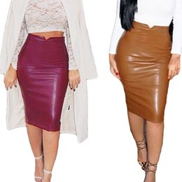 399eea400f7 Women PU Leather Long Skirt Solid Color High Waist Slim Hip Pencil Skirts  Vintage Bodycon Skirt Sexy Clubwear