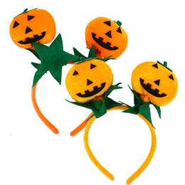 2019 lindas cintas de color naranja 4pcs diadema diadema aro de pelo lindo tocado de calabaza accesorios de disfraces de fiesta de halloween (naranja y naranja rojo) lindas cintas de color naranja baratos