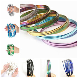 Wholesale Big Wristbands - Rainbow Flow Rings Toroflux Flowtoy 3D Spinner Wristband Kinetic Spring Outdoor Game Dynamic Motion Science Toy 10 Colors OOA4717