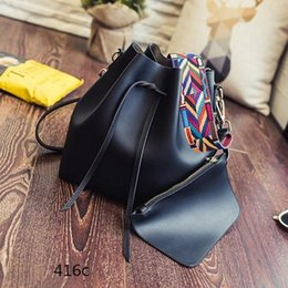Wholesale Colorful Buckets - DHGATE Fashion Colorful Strap Bucket Bag Women practical Pu Leather Shoulder Bag Ladies Crossbody Bags practical high-capacity
