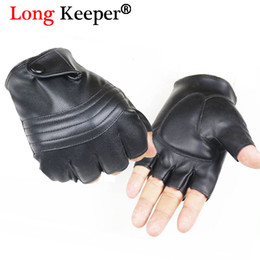 Wholesale Wholesale Long Leather Gloves - Long Keeper Men Leather Driving Gloves Half Finger Tactical Gloves PU Leather Fingerless For Male Black Guantes Luva G223