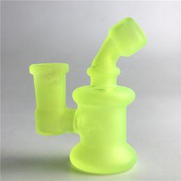 Wholesale Glow Lights - Mini Bong Water Pipes with 3.2 Inch Light Shine Glow in the Dark 14mm Female Recyler Heady Breaker Bongs Glass Oil Rigs
