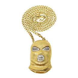 Wholesale Mask Hip Hop - Hip Hop Pendant Necklace Mens Punk Style Alloy Gold Silver Plated Mask Head Charm Pendant High Quality Cuban Chain