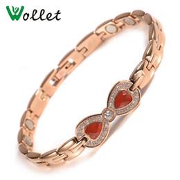 ímãs bio Desconto Wollet jóias bowknot 316 aço inoxidável steel bio pulseira magnética para as mulheres rose gold saúde cura ímã de energia ímã de cobre