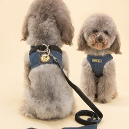 black poodle dogs Promo Codes - Dog Vest Cowboy Leashes Traction Rope Belt Chain Adjustable Poodle Chest Straps Pet Collars Autumn Winter Supplies 11 5xp bb