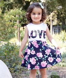 Wholesale B T Shirt - Summer baby girls vestidos suits floral layered short dresses sleeveless t-shirts vest LOVE letters print fashion lovely style hot selling B
