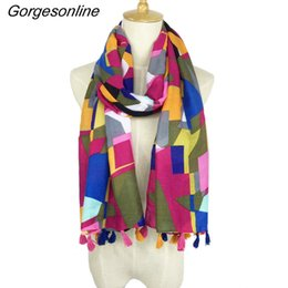 Wholesale Tribal Tassels Wholesale - Hot Selling Very Pretty Printing Design Hijab Shawl High Quality Aztec Tribal Scarf Tassel