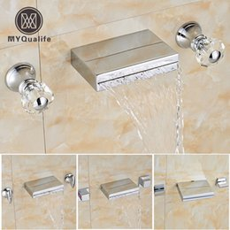 Wholesale Bath Taps Wall Mounted - Chrome Finished Bathroom Wall Mout Basin Faucet Widespread Dual Handle Waterfall Bath Spout Mixer Taps