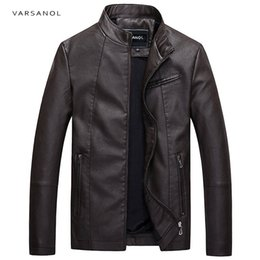 Wholesale crew neck leather jacket - Varsanol Causal Leather Jackets Male Long Sleeve Winter Thick Pocket Mens PU Bomber Outerwear Hot Sale Zipper Brand Clothing2017