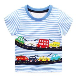 Wholesale Christmas Characters Baby Clothes - Boys T-shirts Short Sleeve Tops 2018 Summer Brand Children Boys Clothes Kids Tee Shirt Cotton Character Print Baby Boy Clothing