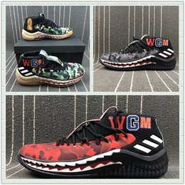 Wholesale Shark Rubber - 2018 high quality TN BA X AD Dame 4 A GREEN CAMO BATHING GUM APE shark and camo designs Three Colors Apes Green Black Red Camo With Box