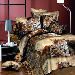 Wholesale Tiger Print Duvet Cover - 3D Bedding Sets Leopard Printed Tiger Flowers Queen Size 4Pcs Bedclothes Pillowcases Bed Sheet Duvet Cover Set Free Shipping
