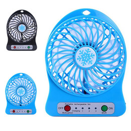 Wholesale Usb Laptop Battery - Top Sell Rechargeable LED Light Fan Air Cooler Mini Desk USB 18650 Battery Rechargeable Fan With Retail Package for PC Laptop Computer