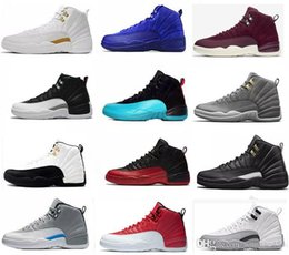 Wholesale purple wing shoes - WholeSale High quality 2018 12 Men Basketball Shoes Wings 12s the Master Cheap Sports Sneakers XII black gold white wool grey womens 36-47