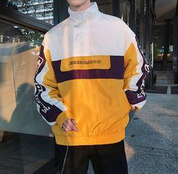 Pull jaune en Ligne-Hommes Vestes Patchwork Manteaux Manteaux High Street Loose Pulls Vestes Panneaux Hip Hop Mens Tops Porter Jaune Bleu Automne Vestes