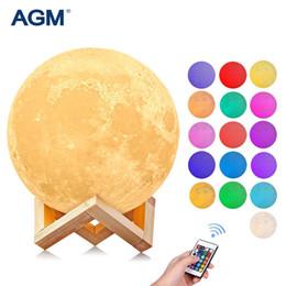 luci fiabesche animali Sconti Night Light 3D Print Moon Lamp 16 colori Touch Remote USB Ricarica per camera da letto Home Decor Creativo Anno nuovo regalo di Natale Hangable
